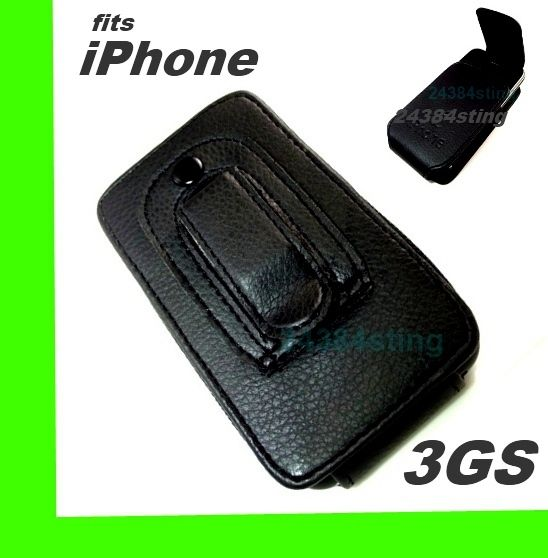 LEATHER FLIP CASE COVER POUCH +BELT CLIP for IPHONE 3GS