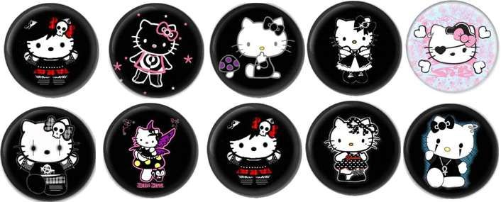 10 Gothic HELLO KITTY BADGES BUTTONS PINS 1.5INCH 38mm