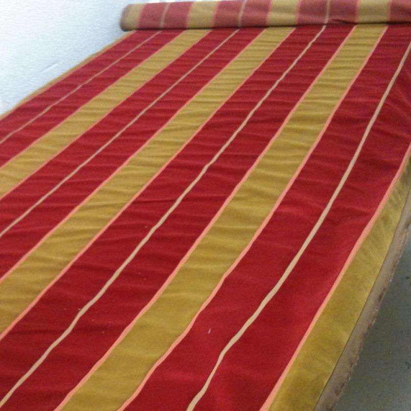 Lee Jofa Millais Velvet Red Gold Wide Stripe Upholstery Fabric