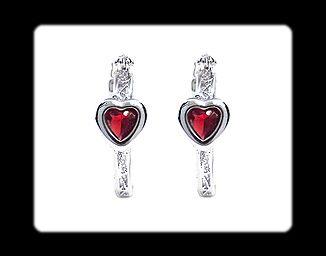 Xmas Gift Heart Cut Garnet White Gold GP Earrings Ruby Fashion Jewelry