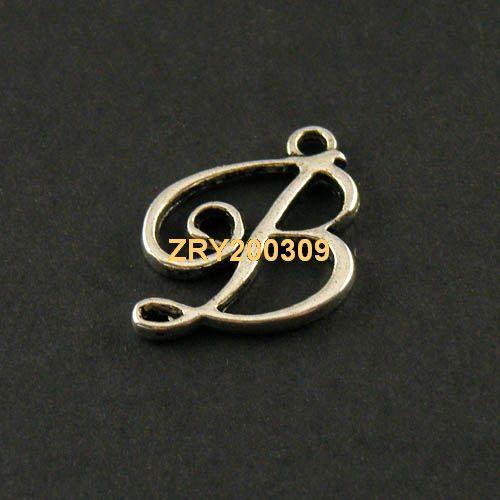"""35Pcs Tibetan Silver Letter """"B"""" Charms Pendants 18x19mm KA4030"""