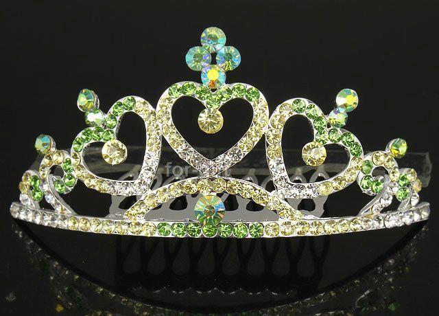 Noblest Green Swarovski Crystal Rhinestone 3 Hearts Crown Tiara Small