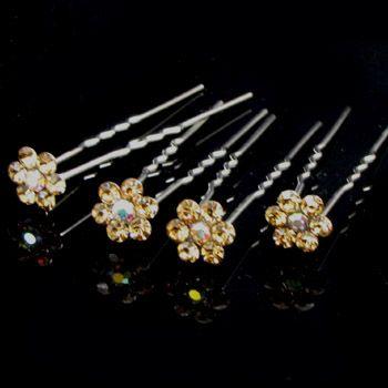 4 bridal flower rhinestone crystal Hair Pin fork bridal