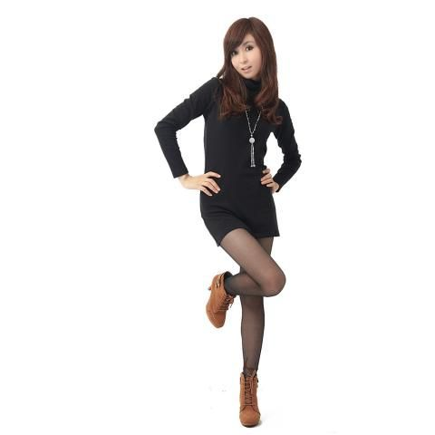Black Hippie Turtle Neck Korea Shirt Top Blouse Size S