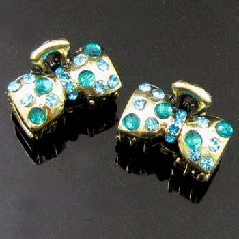 ADDL Item  2pc antiqued rhinestone crystal bow tie hair