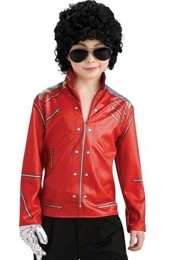 Kids Michael Jackson Costume Beat It Red Zipper Jacket 883028423453