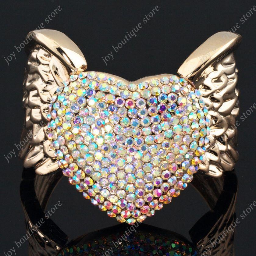 crystal heart Angel Wing Rose gold tone fashion bracelet cuff
