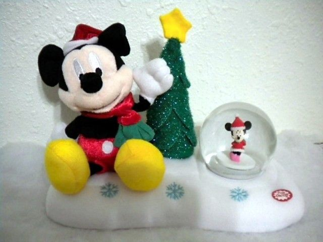 ANIMATED DISNEY MICKEY MINNIE CHRISTMAS FIGURE + GLOBE