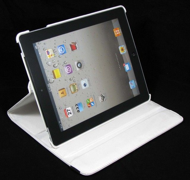 iPad 2 Magnetic Smart Cover Leather Case 360° Rotating Stand   White