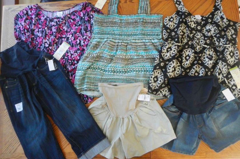 NEW Maternity clothes Lot XL Tops Capri Pant Shorts $232 Summer