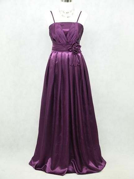 Satin Dark Purple Long Prom Ball Gown Wedding/Evening Dress Size 12 14