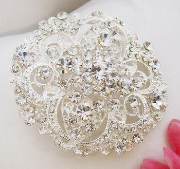 Rhinestone Crystal Bridal Brooch or Hair Comb