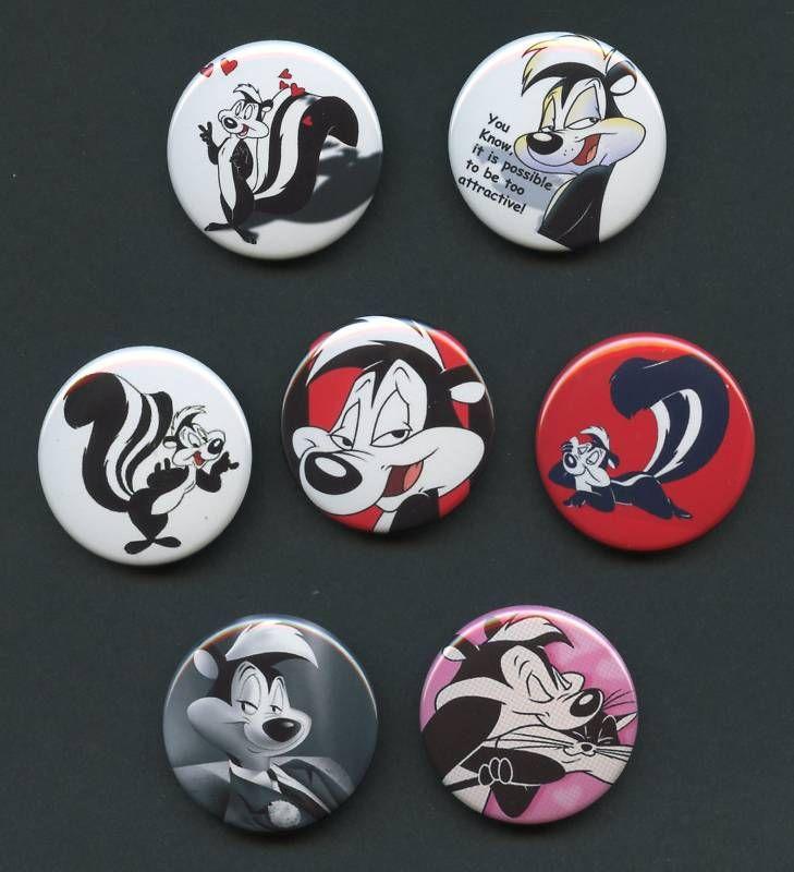 PEPE LE PEW 1.5 pinback button pins badges